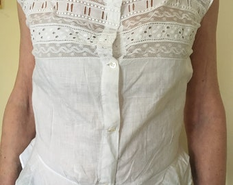 Antique Edwardian Victorian Cotton White Lacy Corset cover camisole