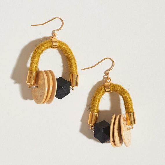 Yarn + Wood Bead Symmetrical Earrings