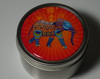 Round Storage Tin Trinket Box Gift Tin Keepsake Box Gift Box Jewellery Box Bits and Bobs Tin African Elephant in Orange