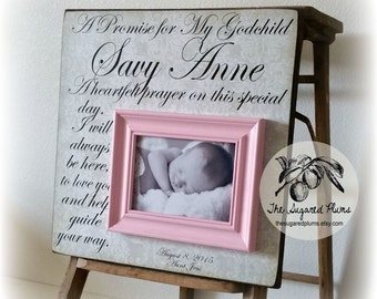 Baptism Gift, Goddaughter, Godson, Baby Girl, First Birthday, A Promise For My Godchild,16x16 The Sugared Plums Frames