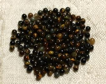 30pc - Perles de Pierre - Oeil de Tigre et Faucon Boules 2mm   4558550010544