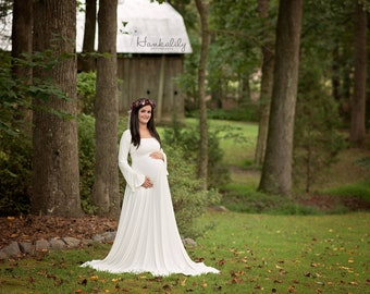 Maternity Maxi Photo Dress Or Wedding- Renaissance- On or Off Shoulder w/Belled Sleeves-Natural Fiber Jersey - Made to Measure -XXS-L