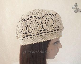 Irish Lace Crochet Motifs Women Ladies girls Vintage Style Cloche Rasta Snood Tam Beach Cotton Beret Hat Ivory Spring Summer Fashion
