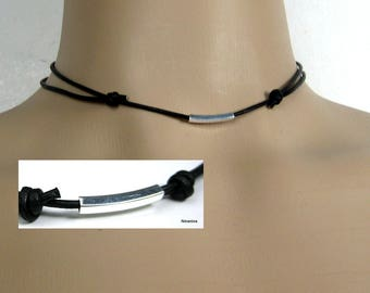 Leather cord necklace and 925 N3516