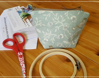 Sewing Notion Case / Notions Bag / Notion Pouch / Accessory Bag / Cross Stitch Pouch / Sewing Pouch / Accessory Pouch / Song Bird