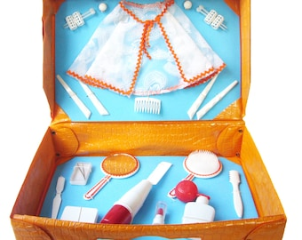 FRENCH VINTAGE 1970's , Beauty Kit / Set , Briefcase , Cute Child Suitcase , Plastic / Vinyl Case , Play House , Dress-up Kit , Kids Luggage