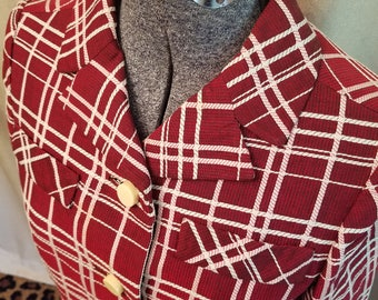 Vintage, 1960s, Renbrook, Couture, Maroon, White, Plaid, Jacket, Top