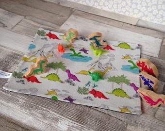 Dinosaur play mat, fold away playmat, toy dino play mat, travel kids play mat, fold up playmat, Activity imaginative play, on the go CE mark