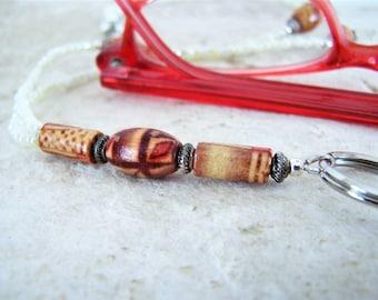 Wood beaded Eyeglass loop for Glasses