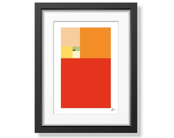 Fibonacci Summer [mathematical abstract art print, unframed, A4 or A3]