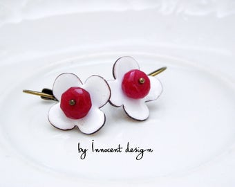 Petunia - enamel earrings - flower - red-white