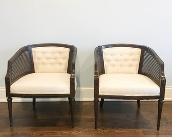 AVAILABLE - SET OF 2 - Cane Back Barrel Chairs
