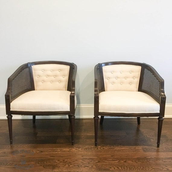 AVAILABLE SET OF 2 Cane Back Barrel Chairs