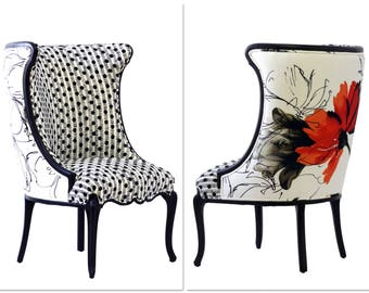 "Black & White Upholstered ""Flora"" Chair"