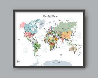 world map with countries printable wall art kid nursery modern home decor p342