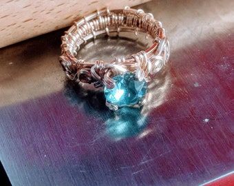 Wire wrap Ring, wire wrap facet gemstone Ring, Cecilia the classy blue Sapphire