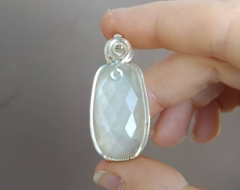 Faceted White Moonstone Pendant Wrapped in Sterling Silver Wire