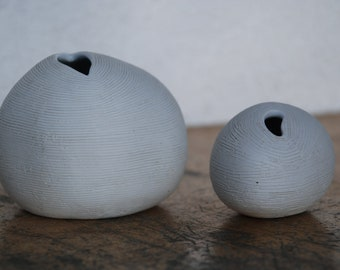 2 Vases Ceramics handmade very fine-a beautiful duet-very minimalist-almost Wabi sabi style