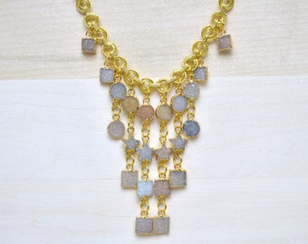 Phoenix/// Druzy Charm Necklace/ Druzy Shapes Gemstone/ Gold Necklace/ Double Circle Chain/ Round Square Star Druzy Charms (DEJ-DKN10)