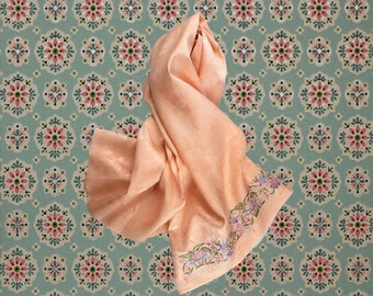 vintage PEACH SILK PARSI Scarf  / Textile - Silk Brocade with Embroidery