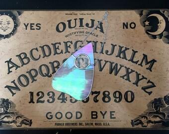Iridescent White Planchette - Hanging Glass - Ouija