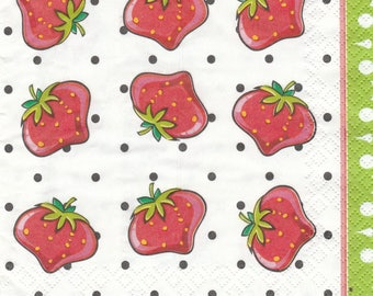 013 small STRAWBERRIES 1 lunch size paper towel