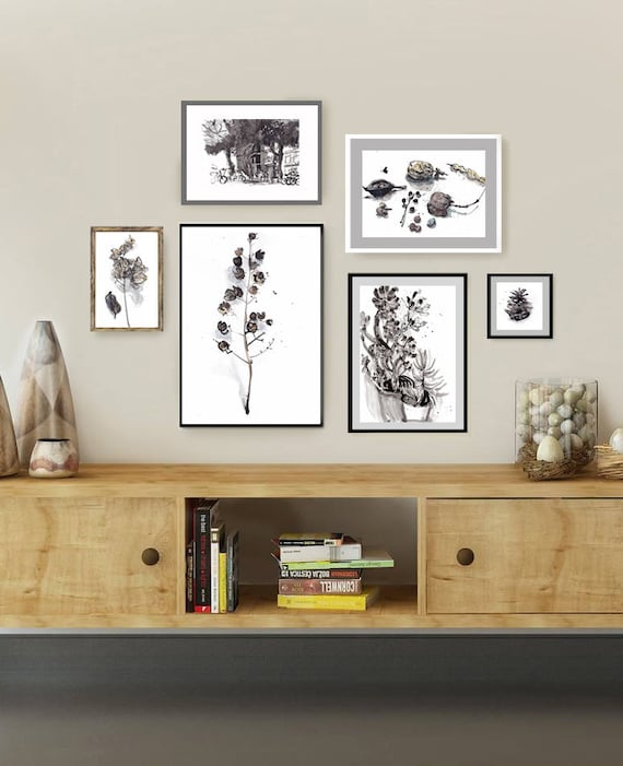 Gallery wall set of 6 botanical prints black white beige