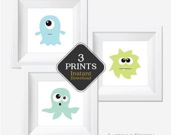 Little Monster Print, Kids Bathroom Wall Art, Kids Printable Wall Art, Downloadable Prints, Kids Room Art, Kids Wall Art, Set of 3