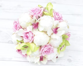 Silk Wedding Bouquet with Off White Roses, Peonies and Orchids - Real Touch Silk Flower Bride Bouquet - Pink Green Bridal Bouquet