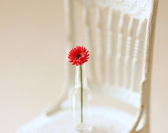 Dollhouse Miniature Flowers - Mini Gerbera Daisy in Red