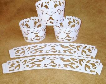 Mini Cupcake Wrappers-  Love Birds - White Matte Paper- 18