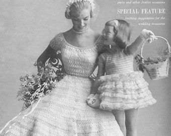 KNITTING CROCHET PATTERNS Vintage 50s Fairy-Tale Fashions in Silk Organdy Ribbon Wedding Party Dresses Hairpin Lace Instant Download pdf