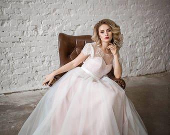 Wedding Dress, 3 in 1/Lace Wedding Dress, Bohemian Wedding Dress, Long Sleeve Dress, Open Back Gown, Vintage Wedding Dress