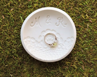 Lace Ring Holder Dish - Personalized Engagement Ring Holder - Custom Bridal Shower Gift for Bride - Monogram Engagement Gifts for Couple