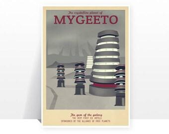 Retro Travel Poster - Star Wars - Mygeeto - MANY SIZES - Modern Vintage Sci Fi Geek Yoda r2D2 C3Po Obi Wan Jedi Typography Art Print