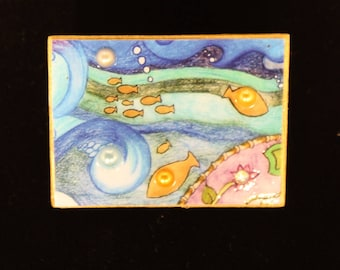 Brooch,fishes in the stream, brooch, pin, gold