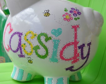 Personalized Large Piggy Bank - Girl's Room Hand Painted Bees, Butterflies & Flowers Design Piggy Bank with Name