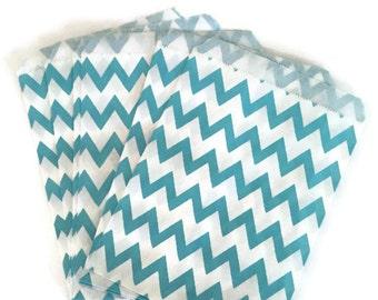 Turquoise Chevron Party Bags