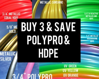 Buy 3 Save 17% POLYPRO and HDPE Doubles triples Dance & Exercise Hula Hoop collapsible with push button