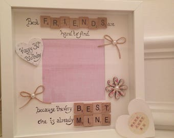 Best Friend Frame, Best Friends are hard to find because the very best is already mine, personalised photo frame, scrabble frame