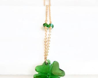 Crystal four leaf clover necklace in moss green - 14k Gold fill - SWAROVSKI Crystal - crystal pendant - good luck necklace - greenery