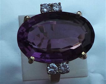 Amethyst and diamond ring in 14 carat gold