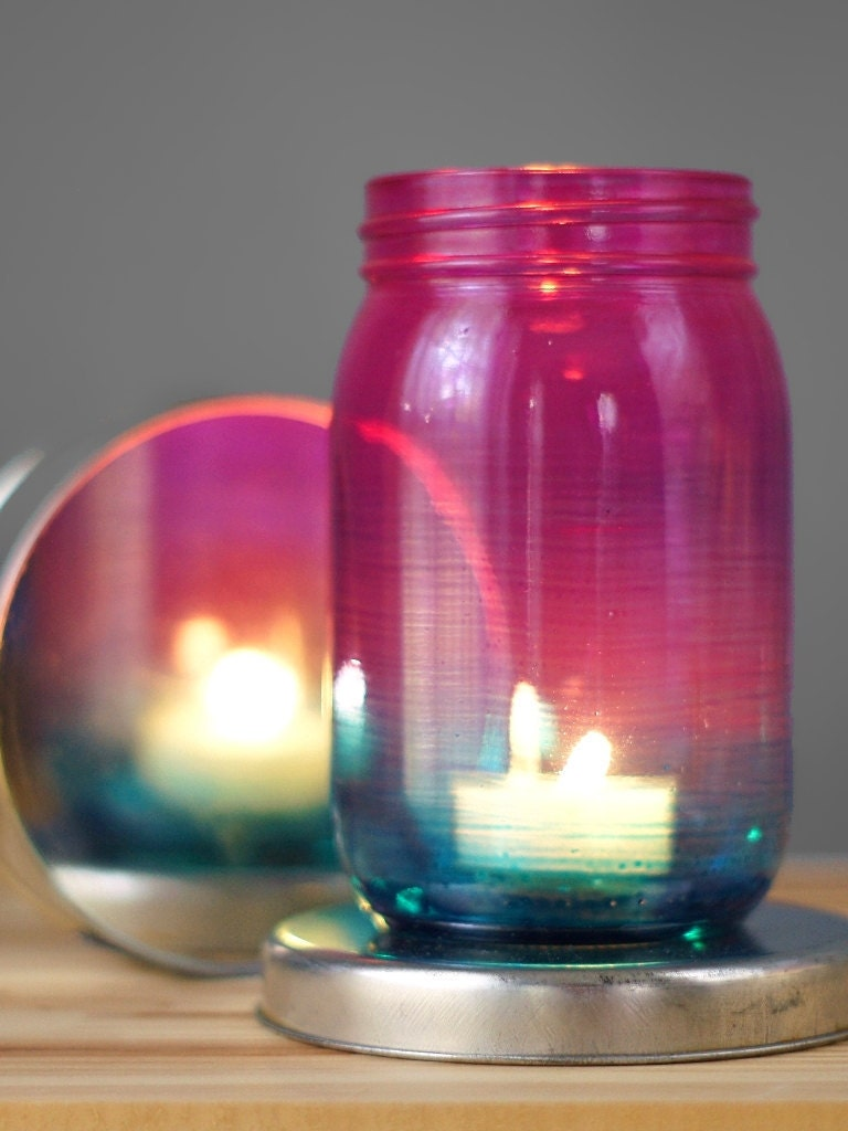 Bohemian Mason Jar Candle Lantern Ombre Tinted Glass From