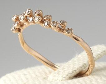 Thin Diamond Wedding Band, Diamond Eternity Band, Diamond Band, Engagement Ring, Cognac Diamond Ring, Stackable Ring