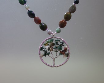 "Gemstone Pendant Necklace -  22"" - Fancy Jasper - Adjustable"