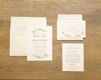 Greenery Wedding Invitation, Organic Wedding Invitation, Boho Wedding Invitation, Printable or Printed Invitation, Wedding Template, RC17007