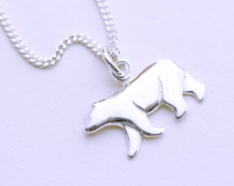 Tiny bear necklace silver bear pendant grizzly bear jewelry sterling silver polar bear necklace silver bear charm necklace sterling silver polar bear pendant aloadofball Images