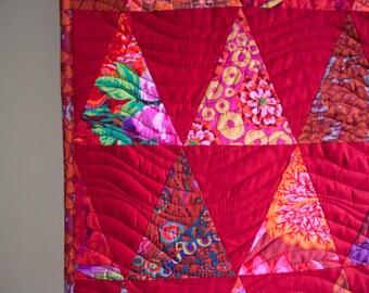 mountainscape quilt // modern red geometric wall hanging // kaffe fassett fabrics // READY TO SHIP