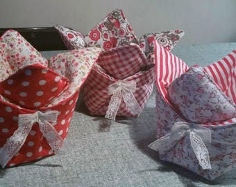 Pretty basket fabric origami style