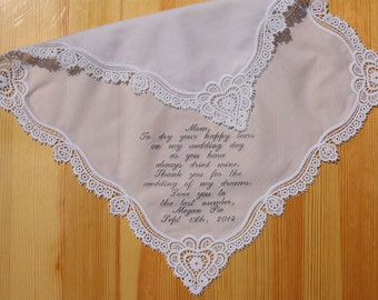 Mother of Bride Wedding Handkerchief Embroidered Monogrammed Personalized Custom #4303